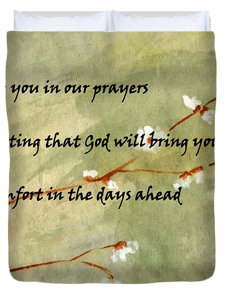 Duvet Cover featuring the painting Keeping You In Our Prayers by Linda Feinberg