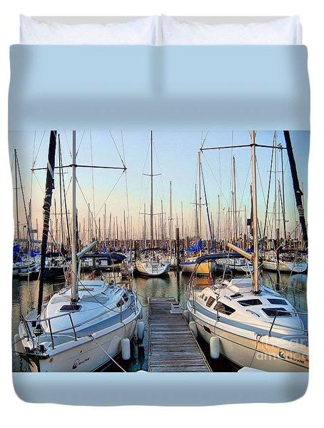 Kemah Boardwalk Marina Duvet Cover