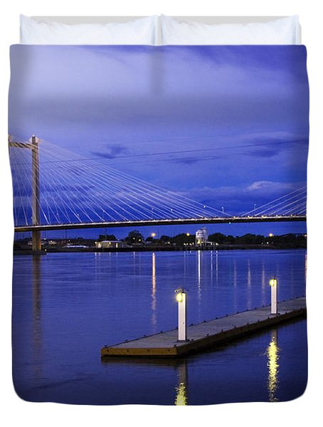 Duvet Cover featuring the photograph Kennewick Bridge 2 by Sonya Lang