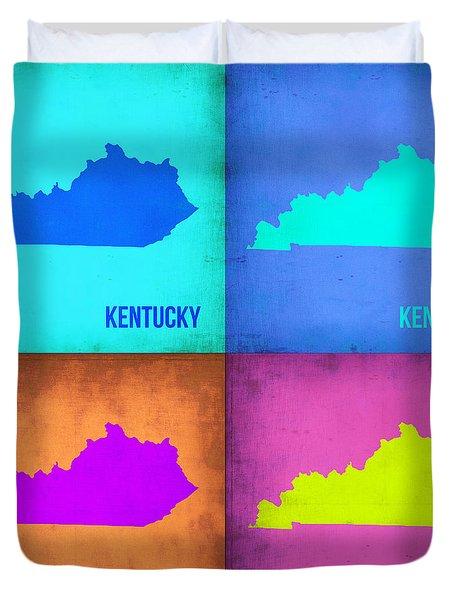 Kentucky Pop Art Map 1 Duvet Cover by Naxart Studio