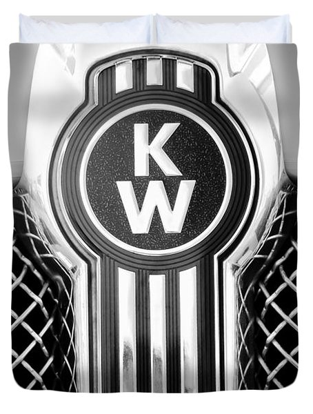 Kenworth Truck Emblem -1196bw Duvet Cover