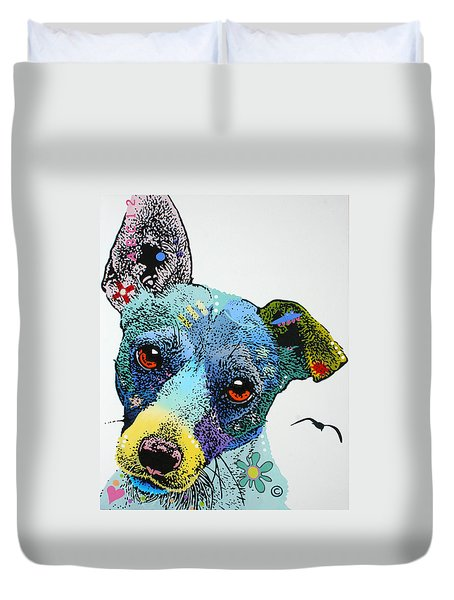 Duvet Cover featuring the painting Jack by Luis Ludzska