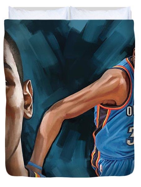 Kevin Durant Artwork Duvet Cover by Sheraz A