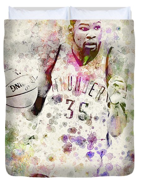 Kevin Durant In Color Duvet Cover by Aged Pixel