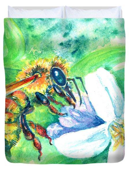 Key Lime Honeybee Duvet Cover