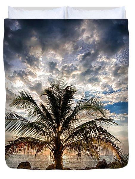 Key West Florida Lone Palm Tree  Duvet Cover