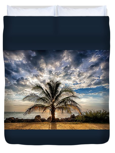 Key West Florida Lone Palm Tree  Duvet Cover