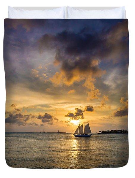 Key West Florida Sunset Mallory Square Duvet Cover