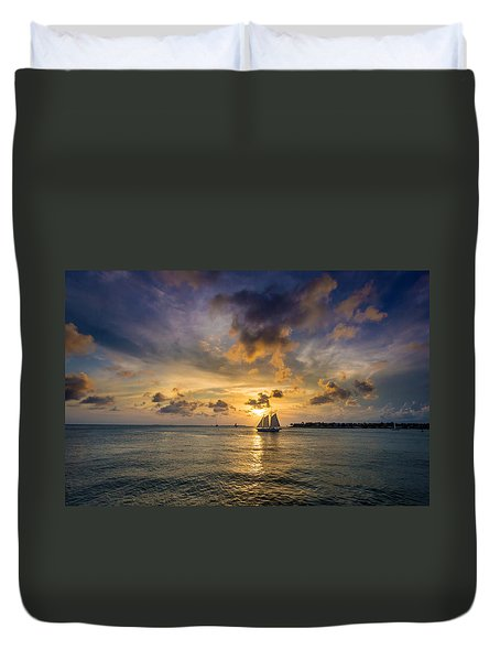 Key West Florida Sunset Mallory Square Duvet Cover
