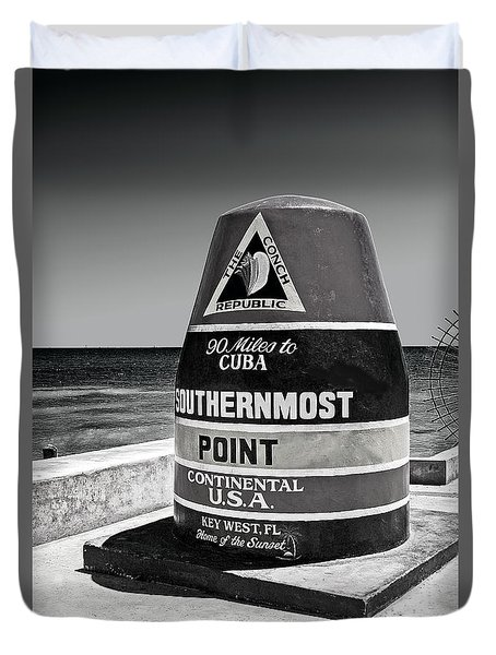 Key West Cuba Distance Marker Duvet Cover