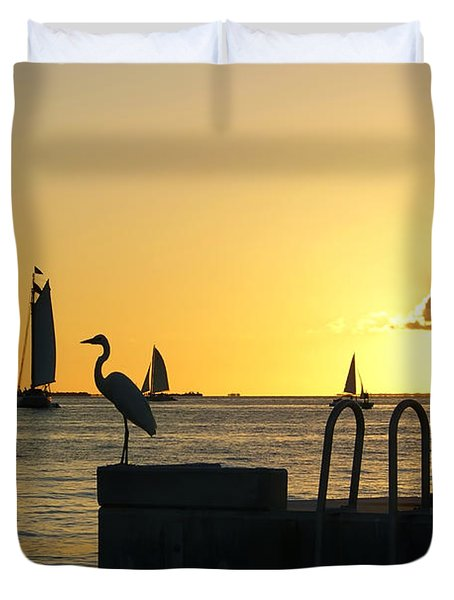 Duvet Cover featuring the photograph Key West Sunset by Olga Hamilton