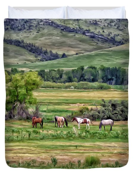 Duvet Cover featuring the painting K G Ranch by Michael Pickett