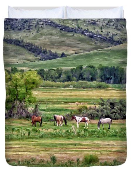 K G Ranch Duvet Cover by Michael Pickett