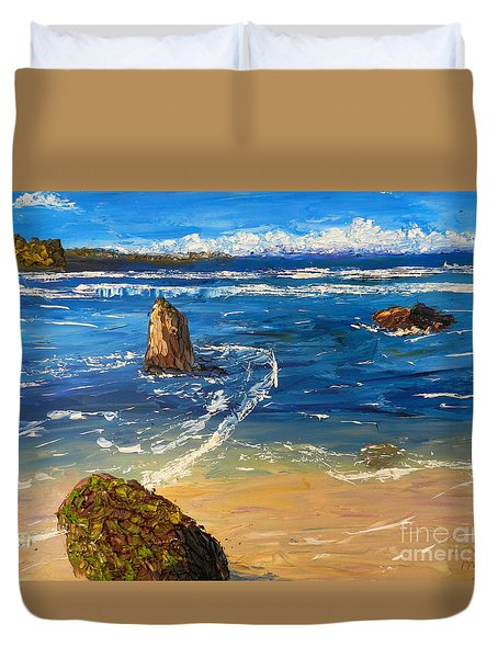 Duvet Cover featuring the painting Kiama Beach by Pamela  Meredith