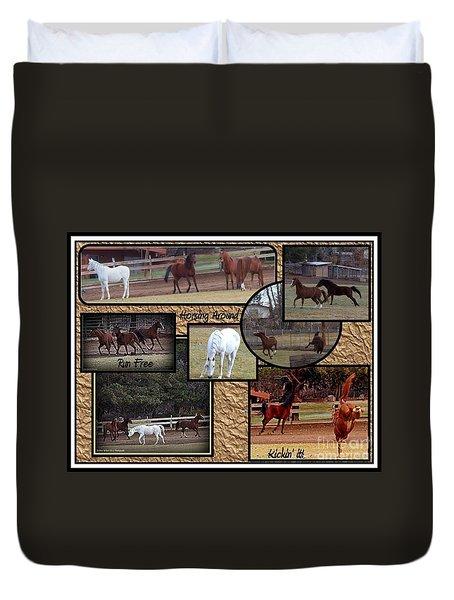 Horses Kickin It  Duvet Cover