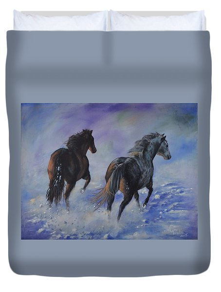 Kicking Up Snow Duvet Cover