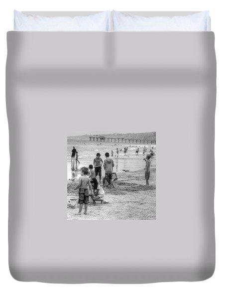 Kids At Beach Duvet Cover