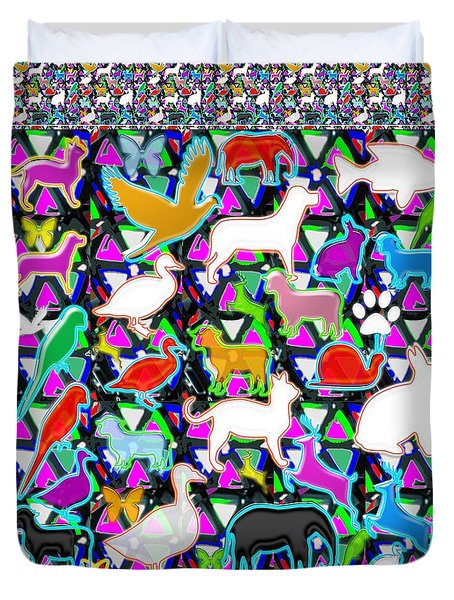 Kids Count The Birds Butterflies N Animals Circle Artistic Navin Joshi Rights Managed Images Graphic Duvet Cover by Navin Joshi