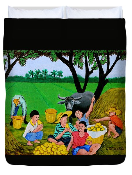 Kids Eating Mangoes Duvet Cover