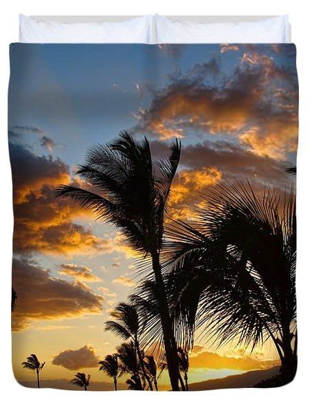 Kihei At Dusk Duvet Cover by Peggy Hughes