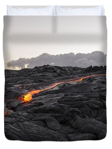 Kilauea Volcano 60 Foot Lava Flow - The Big Island Hawaii Duvet Cover by Brian Harig