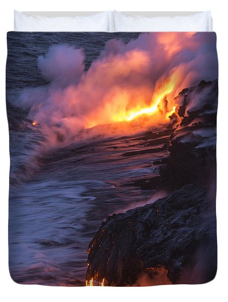 Kilauea Volcano Lava Flow Sea Entry 4 - The Big Island Hawaii Duvet Cover by Brian Harig