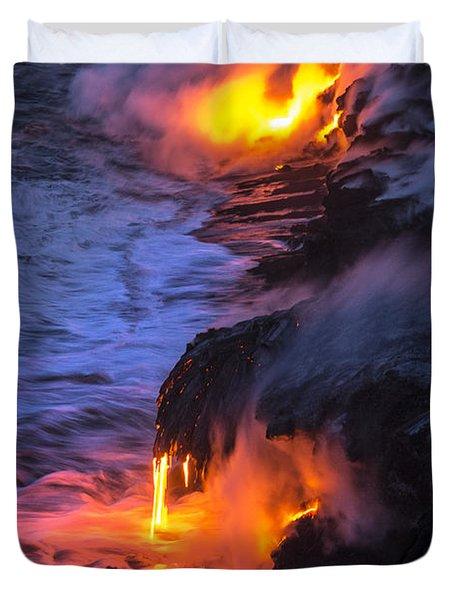 Kilauea Volcano Lava Flow Sea Entry 5 - The Big Island Hawaii Duvet Cover by Brian Harig