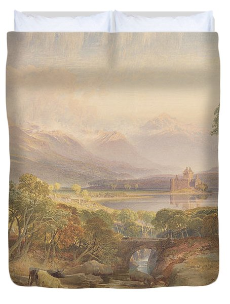 Kilchurn Castle, Argyllshire, 1865 Wc, Bc, Scratching Out And Graphite On Paper Duvet Cover