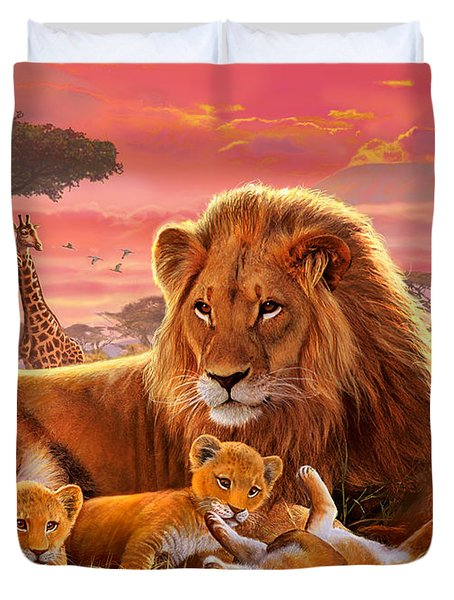 Kilimanjaro Male Lion With Cubs Duvet Cover