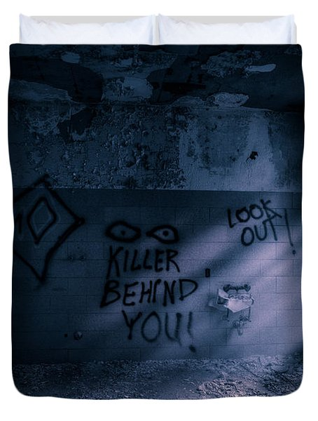 Duvet Cover featuring the photograph Killer Behind You - Abandoned Hospital Asylum by Gary Heller