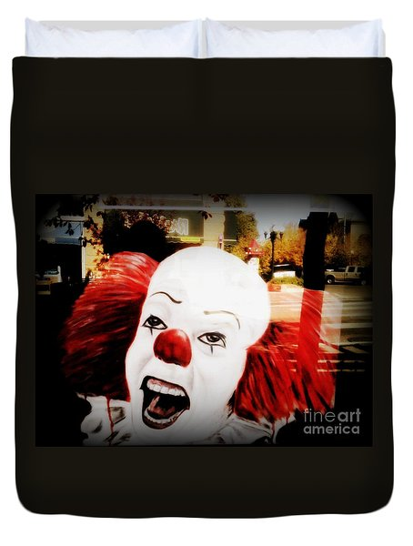 Killer Clowns On The Loose Duvet Cover by Kelly Awad