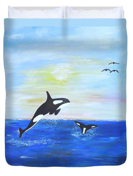 Killer Whales Leaping Duvet Cover