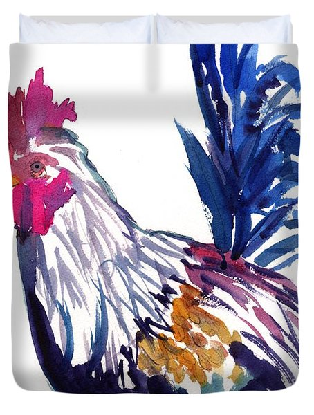 Duvet Cover featuring the painting Kilohana Rooster by Marionette Taboniar