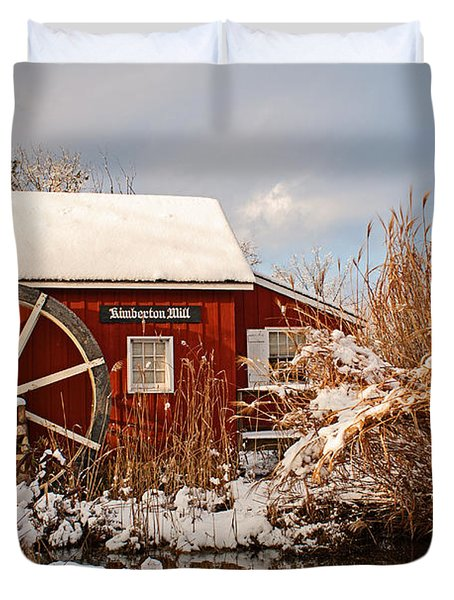 Kimberton Mill After Snow Duvet Cover