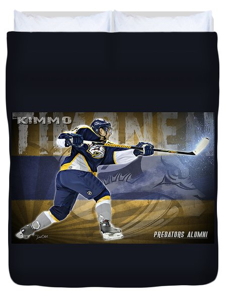 Duvet Cover featuring the digital art Kimmo Timonen by Don Olea
