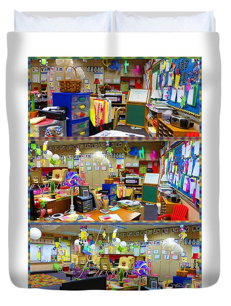 Duvet Cover featuring the photograph Kindergarten Classroom by Tina M Wenger