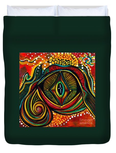 Duvet Cover featuring the painting Kindness Spirit Eye by Deborha Kerr