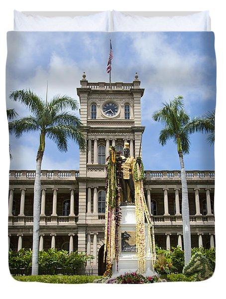 King Kamehameha In Leis Duvet Cover by Brandon Tabiolo