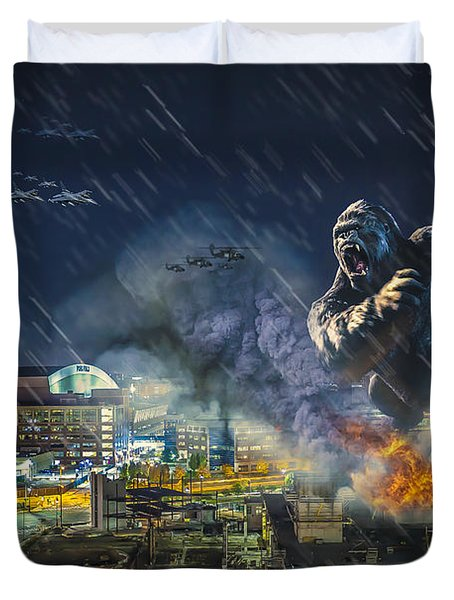 Duvet Cover featuring the photograph King Kong By Ford Field by Nicholas  Grunas
