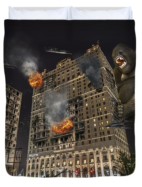 Duvet Cover featuring the photograph King Kong In Detroit Westin Hotel by Nicholas  Grunas