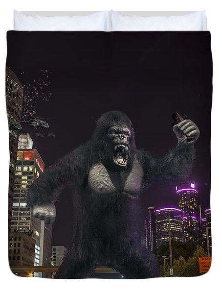 Duvet Cover featuring the photograph King Kong On Jefferson St In Detroit by Nicholas  Grunas