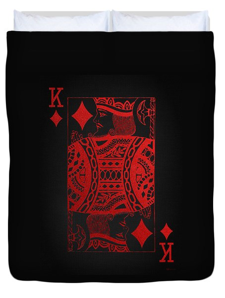 King Of Diamonds In Red On Black Canvas   Duvet Cover