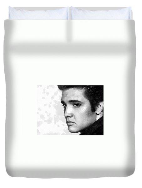 King Of Rock Elvis Presley Black And White Duvet Cover