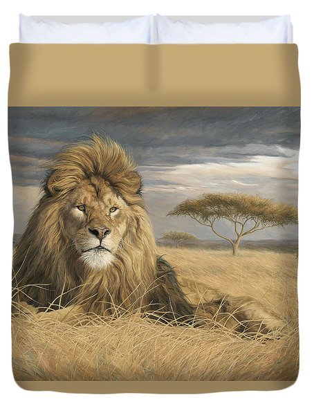 King Of The Pride Duvet Cover by Lucie Bilodeau