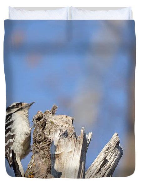 Duvet Cover featuring the photograph King Of The Tree Top by Dacia Doroff