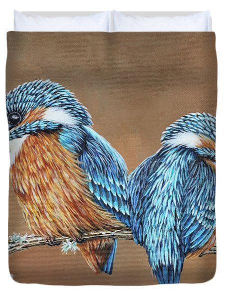Duvet Cover featuring the painting Kingfishers by Jane Girardot