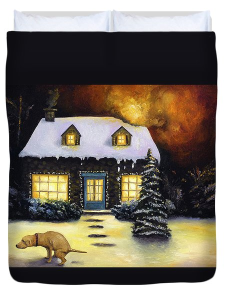 Kinkade's Worst Nightmare Duvet Cover by Leah Saulnier The Painting Maniac