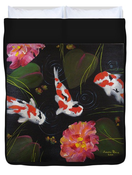 Duvet Cover featuring the painting Kippycash Koi by Judith Rhue