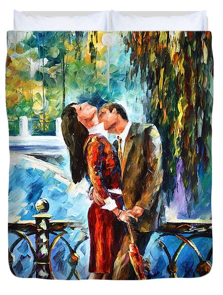 Kiss After The Rain New Duvet Cover by Leonid Afremov