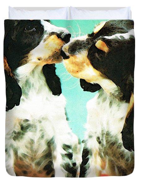 Kiss Me - Cocker Spaniel Art By Sharon Cummings Duvet Cover by Sharon Cummings